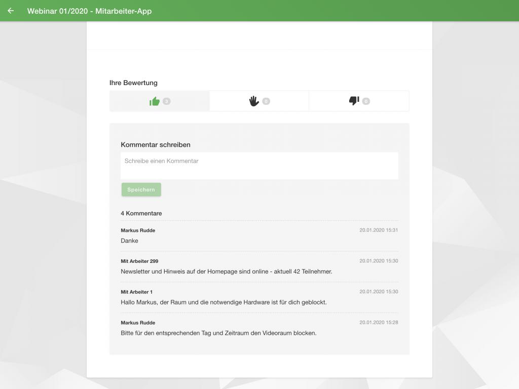 Mitarbeiter App: Kommentare