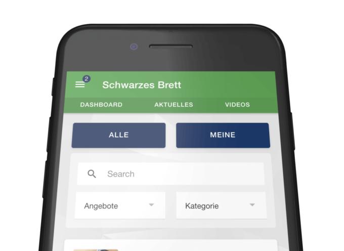 Mitarbeiter App: Schwarzes Brett Übersichtsseite