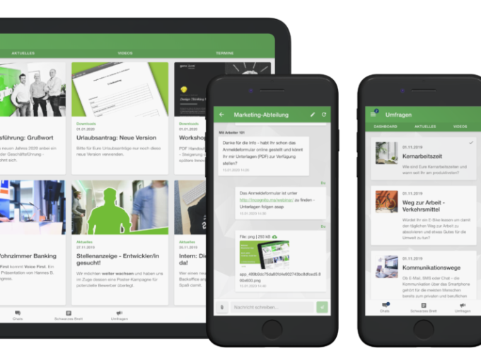 Mitarbeiter App: Kommunikation mit Tablet und Smartphone